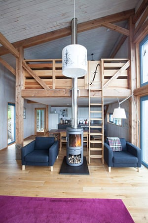 Homes - On The Rocks: Interior of wooden house
