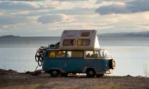 A VW camper in the Scottish Highlands.