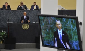 United States President Barack Obama addresses the delegates during the 68th session of the United Nations general asembly at the United Nations in New York