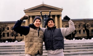 A scene from the movie Rocky on the steps of the Public Art Gallery in Philadelphia.