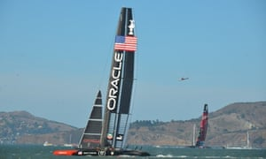 Oracle Team USA leads Emirates Team New Zealand during race 18 of the America's Cup.