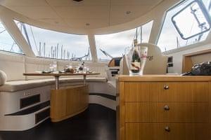Yachts: Interior of a Flash Cat 47 power catamaran in Barcelona