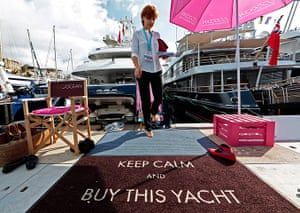 Yachts: A visitor leaves a luxury yacht