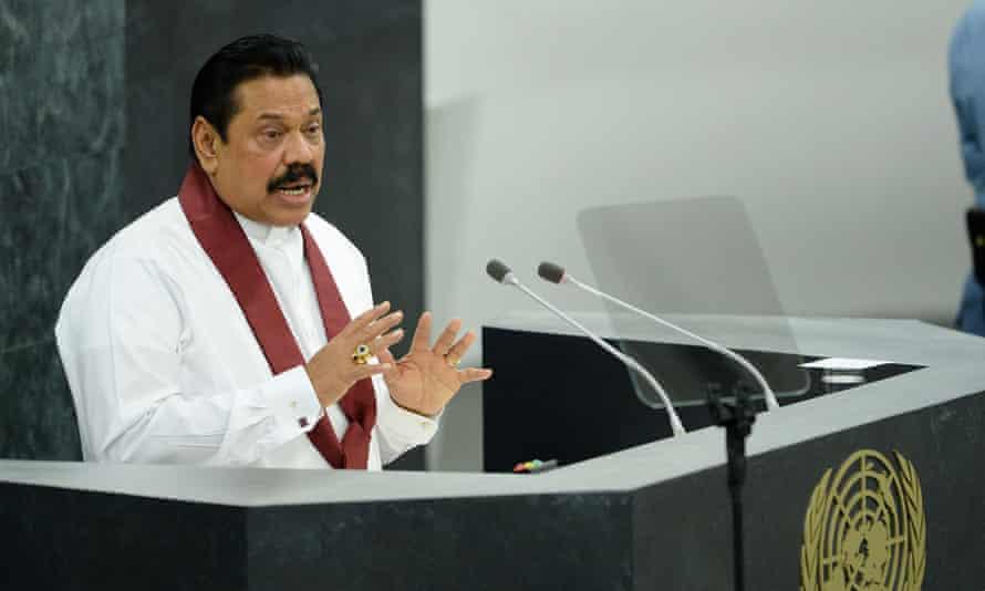 Sri Lankan president Mahinda Rajapaksa speaks at the UN general assembly this week.