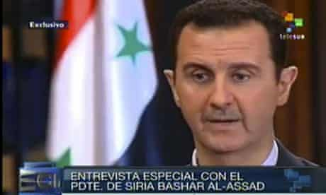Bashar al-Assad speaks on Venezuelan TV.