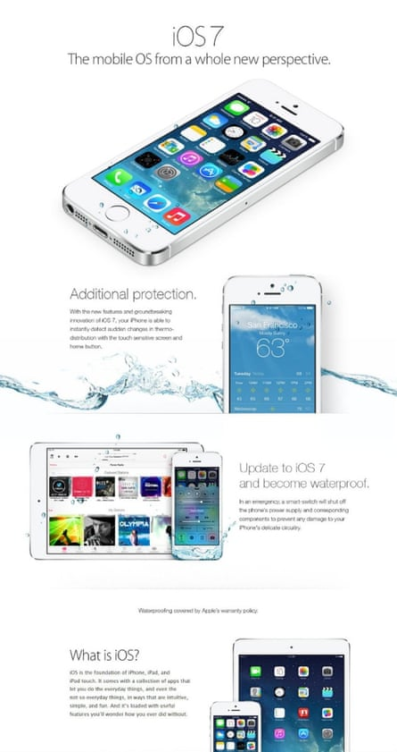 iPhone users were tricked into thinking their devices were waterproof by a fake iOS7 advert