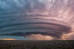 Storm cloud formations: a supercell thunderstorm in Sanford, Kansas
