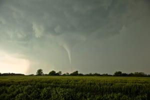 Storm cloud formations: a skinny tornado near South Haven, Kansas