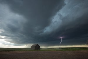 Storm cloud formations: lightning emanates from the heart of a supercell thunderstorm in Pawnee Gr