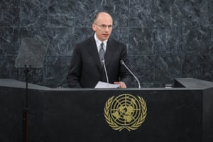 Enrico Letta, Prime Minister Of Italy, addresses the United Nations General Debate at the 68th United Nations General Assembly in the UN building on September 25, 2013 in New York.