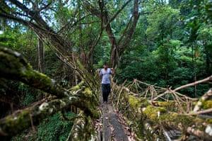 Ten best: A man crosses one of the living root bridges in Northeast India