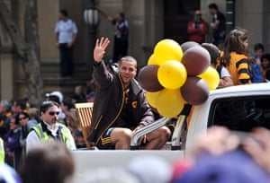 AFL Parade: Hawthorn player Lance Franklin waves to the crowd