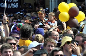 AFL Parade: Hawthorn coach Alastair Clarkson waves to crowd