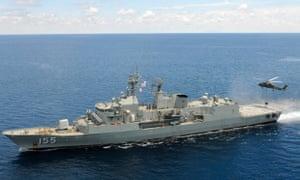 Australian navy ship HMAS Ballarat responded to a distress call from an asylum seeker boat in Indonesian waters.