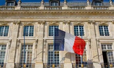French flag at Place de la Bourse in Bordeaux France