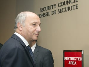 French Foreign Minister Laurent Fabius after a meeting of the five permanent members of the United Nations security council.