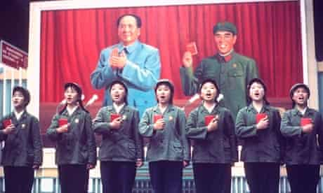 Chinese singers perform with their copies of the Little Red Book in hand
