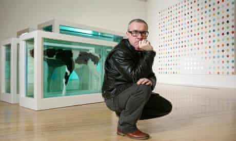 Damien Hirst with Mother and Child Divided (2007) at Tate Britain.