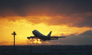 A Boeing 747 jumbo jet airliner plane taking off from London Heathrow Airport