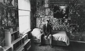 Joe Orton in the Islington flat richly decorated by Kenneth Halliwell