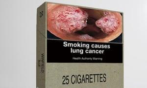 Mock-up of as plain cigarette pack
