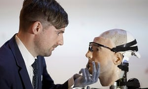 Bertolt Meyer, key speaker at this weekend's FutureFest in London, meets  Rex the Bionic Man in his
