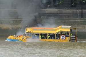 Duck boat fire: A London Duck Tours boat full of passengers catches fire on the River Thame