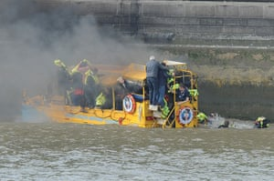Duck boat fire: Passengers don life jackets and jump overboard into the Thames