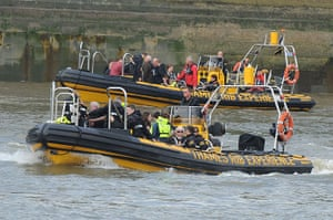 Duck boat on fire: Two Thames RIB Experience speedboats carry rescued passengers