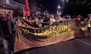 Anti-fascist demonstration rally in Athens