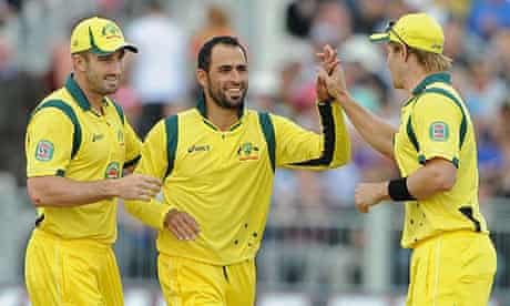 Fawad Ahmed plays with no sponsor's logo in Saturday's T20 against England.