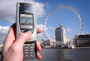 Nokia timeline: 2004: A mobile user takes a picture of the British Airways London Eye using