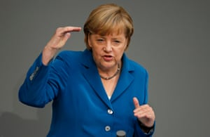 German Chancellor Angela Merkel gestures during her speech during a  meeting of the German federal parliament, Bundestag,in Berlin, Germany, Tuesday, Sept. 3, 2013.