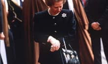 Margaret Thatcher with one of her handbags