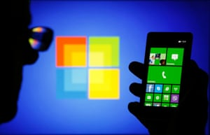 A Nokia Lumia 820 smartphone, which runs Microsoft's Windows Phone software.