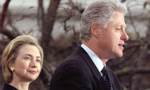 President Bill Clinton with First Lady Hillary makes press statement following impeachment, Dec 1998