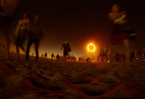 Glow Santa Monica: Visitors wait to see the creation of French artist Mathieu Briand titled 6: