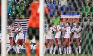 New York Red Bulls celebrate Tim Cahill's goal against the Seattle Sounders
