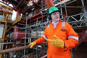 Hi-vis Osborne: George Osborne during a visit to the Montrose Platform