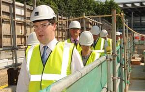 Hi-vis Osborne: George Osborne during a visit to the site of the Crick Institute