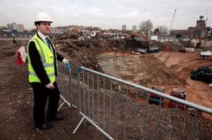 Hi-vis Osborne: George Osborne during a visit to the Riverlight site in central London