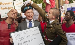 London's LGBT community protests against Russia's homophobic laws