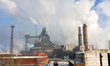 A view of the Temirtau steel plant in the town of Temirtau, central Kazakhstan