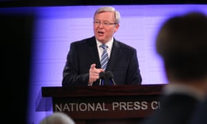 The Prime Minister Kevin Rudd at the National Press Club in Canberra this afternoon to give his pre election address to the Nation, Thursday 5th August 2013