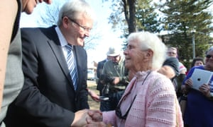 The Prime Minister Kevin Rudd meets Rita Taylor, 88 who's dad was Ben Chifley's campaign manager in Thompson Square in Windsor this afternoon, Thursday 5th September 2013.