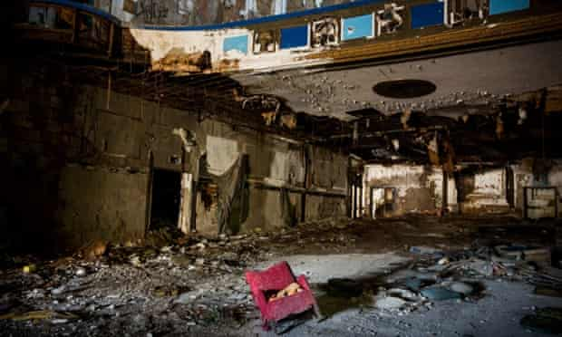 Remnants of Detroit's historic Eastown Theatre in Michigan. Since 2004 it has been abandoned and fallen into disrepair. Detroit has an astonishing 78,000 abandoned buildings.