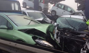 The pile-up involving up to 100 cars has left at least seven people seriously injured. Emergency services were called to the crash after severe fog forced motorists to drive through treacherous conditions.