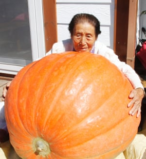 Imagine how big it will be by halloween. An elderly woman shows off a giant pumpkin at a village in Boeun county, North Chungcheong, China. The huge pumpkin weighs 77 kilograms.