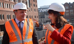 Shadow Chancellor Ed Balls and Shadow Chief Secretary to the Treasury Rachel Reeves visit the Bond Street site of the Crossrail project.