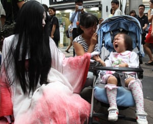 In Seoul, South Korea, they are getting ready for upcoming Halloween events at Everland amusement park and having a good practice at scaring the children.